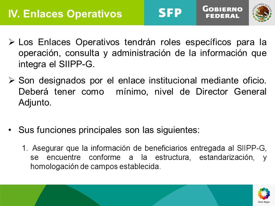 IV. Enlaces Operativos Los Enlaces Operativos tendrán roles específicos para la operación, consulta y administración de la información que integra el