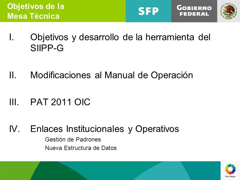 I.Objetivos y desarrollo de la herramienta del SIIPP-G II.Modificaciones al Manual de Operación III.PAT 2011 OIC IV.Enlaces Institucionales y Operativ