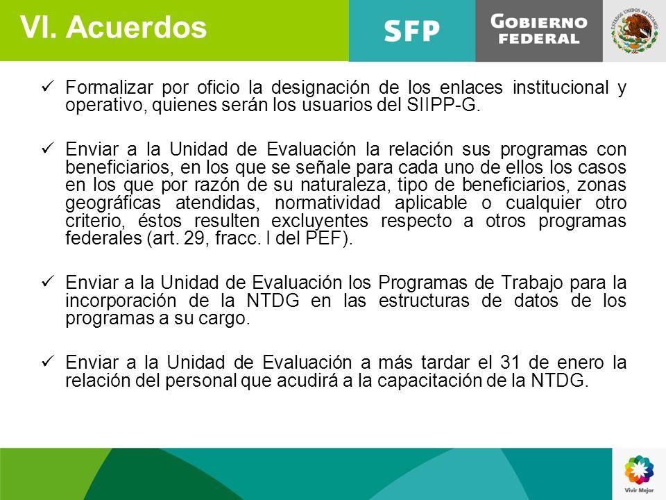 Formalizar por oficio la designación de los enlaces institucional y operativo, quienes serán los usuarios del SIIPP-G. Enviar a la Unidad de Evaluació