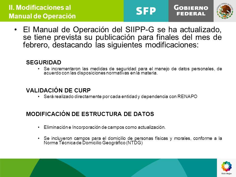 El Manual de Operación del SIIPP-G se ha actualizado, se tiene prevista su publicación para finales del mes de febrero, destacando las siguientes modi