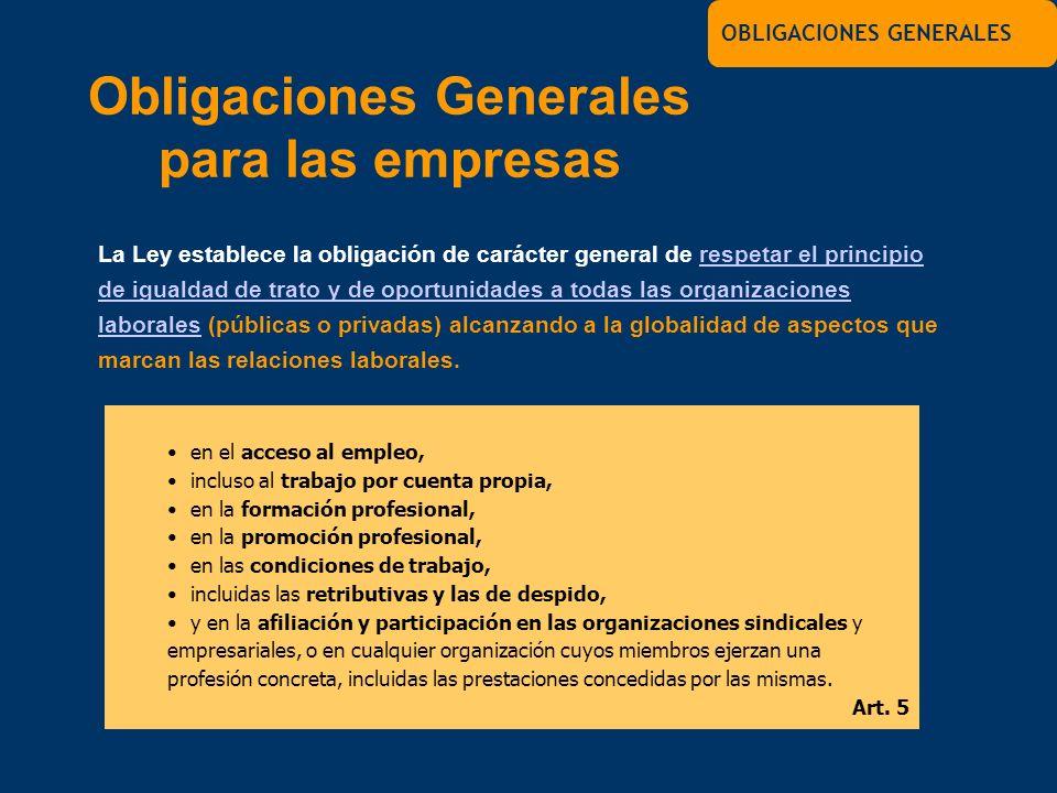 La Ley establece la obligación de carácter general de respetar el principio de igualdad de trato y de oportunidades a todas las organizaciones laboral