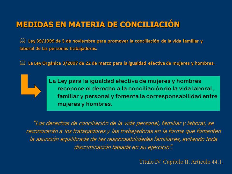 MEDIDAS EN MATERIA DE CONCILIACIÓN Ley 39/1999 de 5 de noviembre para promover la conciliación de la vida familiar y laboral de las personas trabajado