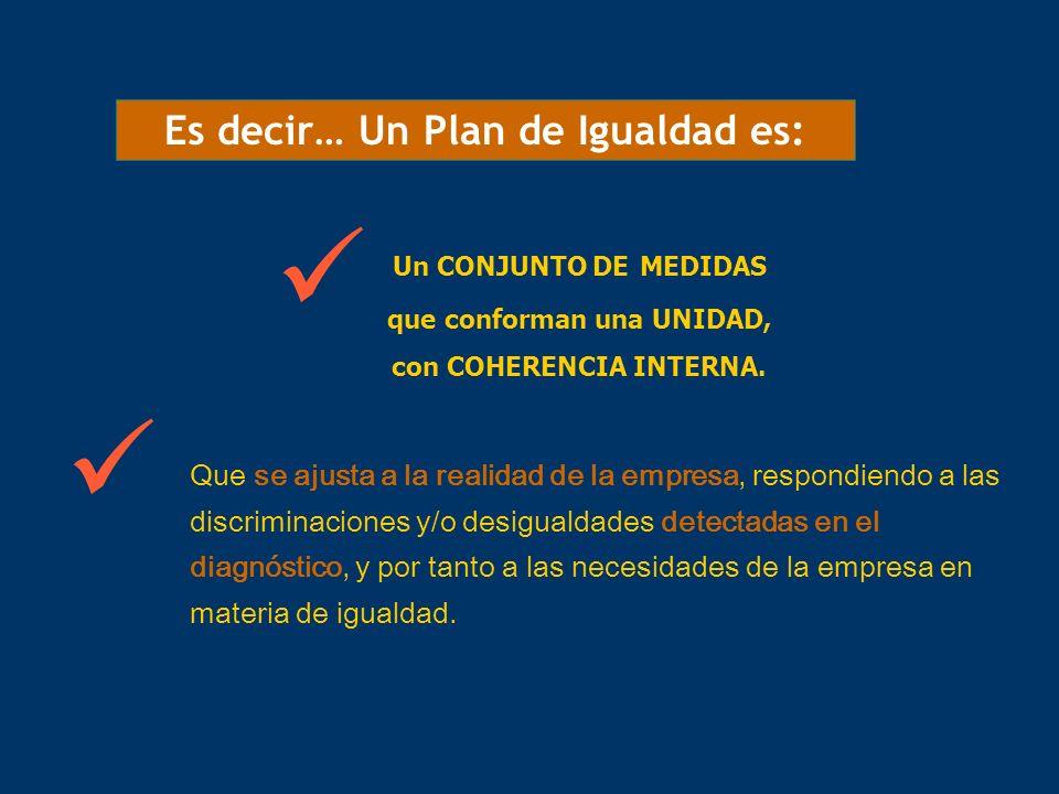 Es decir… Un Plan de Igualdad es: Un CONJUNTO DE MEDIDAS que conforman una UNIDAD, con COHERENCIA INTERNA. Que se ajusta a la realidad de la empresa,