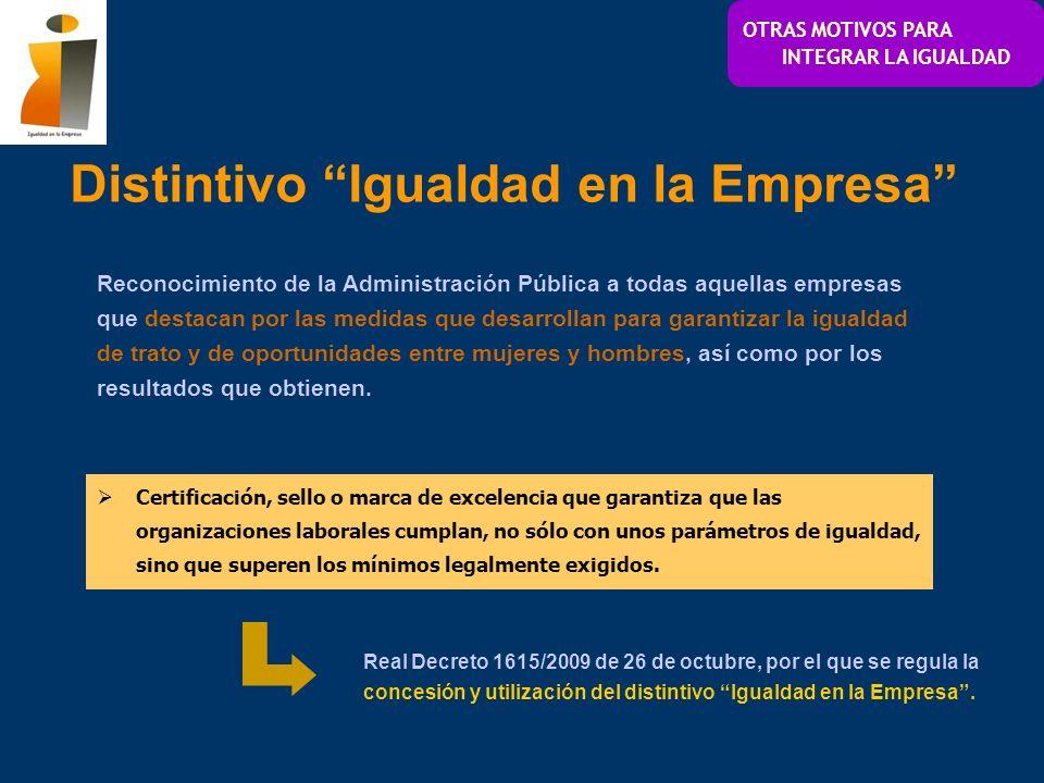 Distintivo Igualdad en la Empresa OTRAS MOTIVOS PARA INTEGRAR LA IGUALDAD Reconocimiento de la Administración Pública a todas aquellas empresas que de