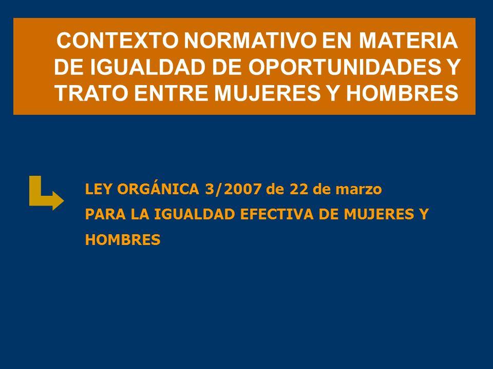 CONTEXTO NORMATIVO EN MATERIA DE IGUALDAD DE OPORTUNIDADES Y TRATO ENTRE MUJERES Y HOMBRES LEY ORGÁNICA 3/2007 de 22 de marzo PARA LA IGUALDAD EFECTIV