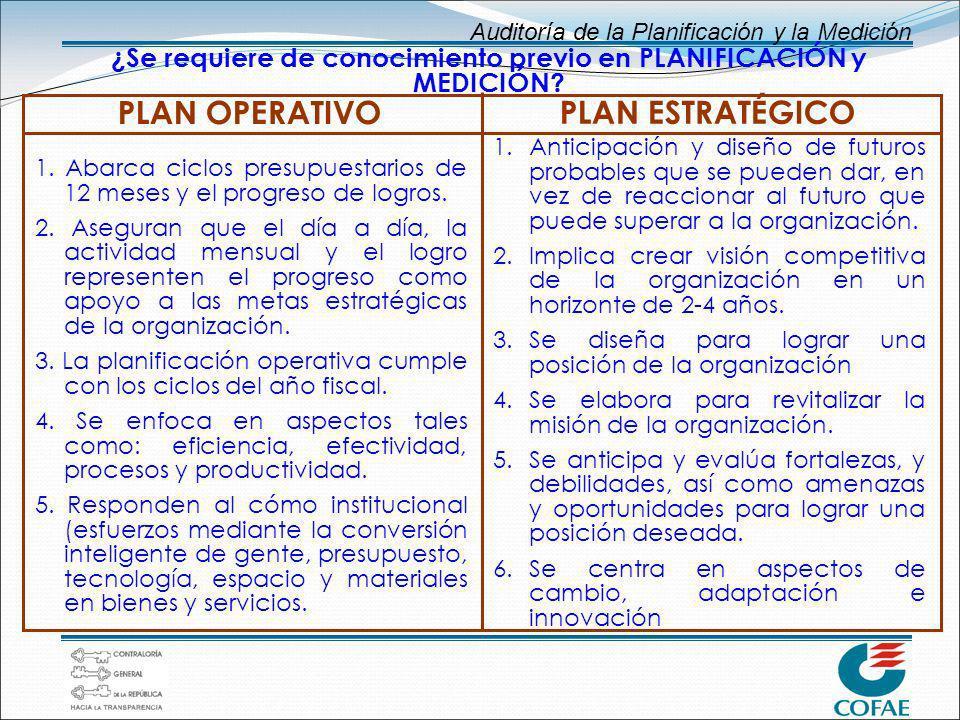Auditoría de la Planificación y la Medición ¿Se requiere de conocimiento previo en PLANIFICACIÓN y MEDICIÓN? 1. Abarca ciclos presupuestarios de 12 me