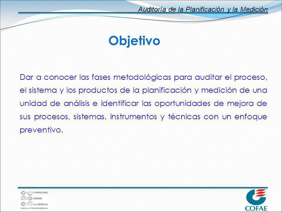 Auditoría de la Planificación y la Medición Objetivo Dar a conocer las fases metodológicas para auditar el proceso, el sistema y los productos de la p