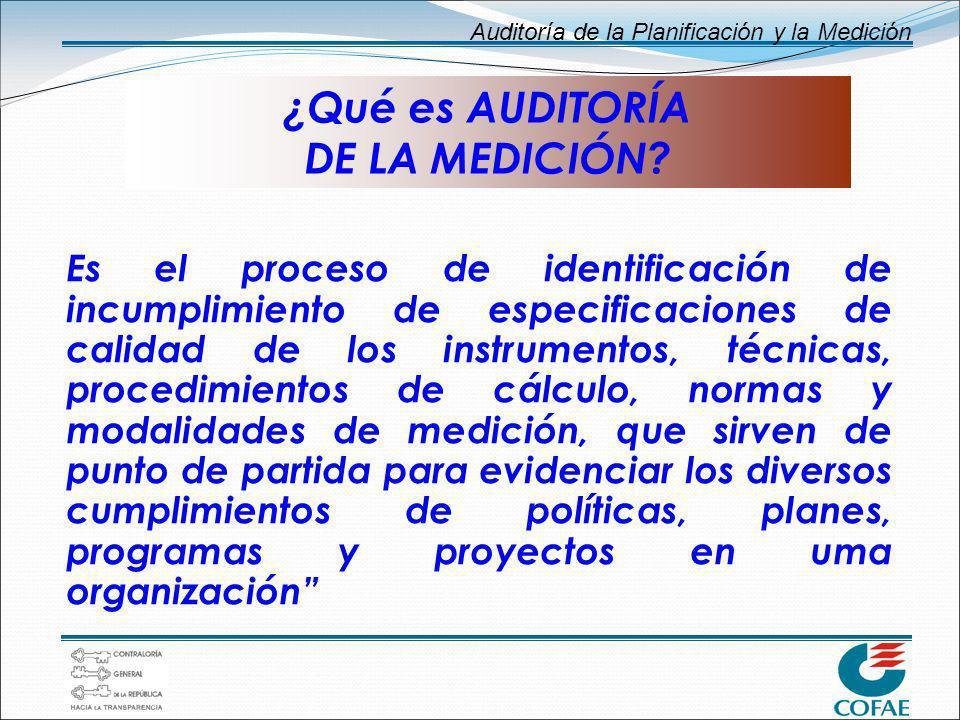Auditoría de la Planificación y la Medición ¿Qué es AUDITORÍA DE LA MEDICIÓN? Es el proceso de identificación de incumplimiento de especificaciones de