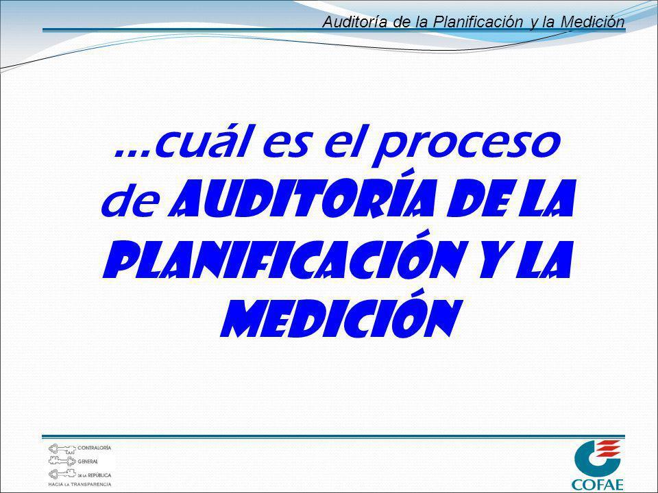 Auditoría de la Planificación y la Medición...cuál es el proceso de AUDITORÍA DE LA PLANIFICACIÓN Y LA MEDICIÓN