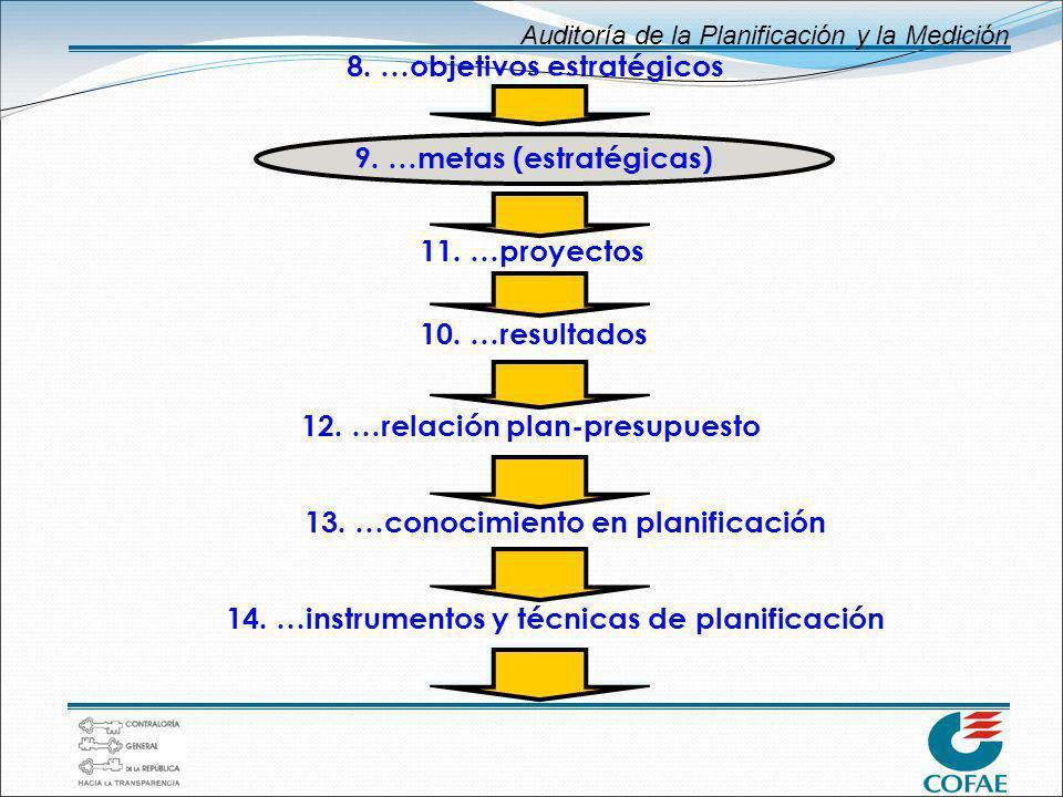Auditoría de la Planificación y la Medición 11. …proyectos 10. …resultados 12. …relación plan-presupuesto 13. …conocimiento en planificación 14. …inst