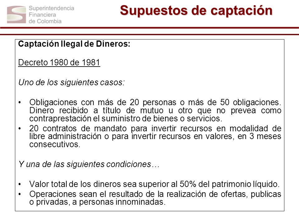 Captación Ilegal de Dineros: Decreto 1980 de 1981 Uno de los siguientes casos: Obligaciones con más de 20 personas o más de 50 obligaciones. Dinero re
