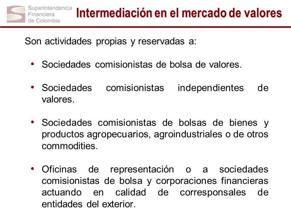 Son actividades propias y reservadas a: Sociedades comisionistas de bolsa de valores. Sociedades comisionistas independientes de valores. Sociedades c