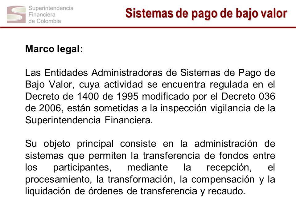 Marco legal: Las Entidades Administradoras de Sistemas de Pago de Bajo Valor, cuya actividad se encuentra regulada en el Decreto de 1400 de 1995 modif
