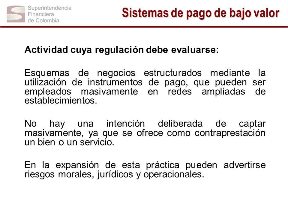 Actividad cuya regulación debe evaluarse: Esquemas de negocios estructurados mediante la utilización de instrumentos de pago, que pueden ser empleados
