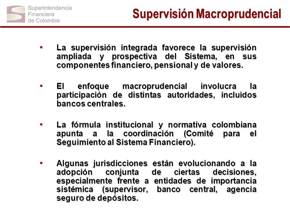 La supervisión integrada favorece la supervisión ampliada y prospectiva del Sistema, en sus componentes financiero, pensional y de valores. La supervi