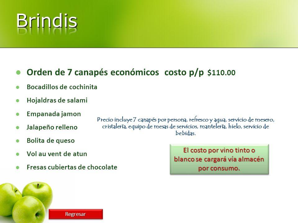 Orden de 7 canapés económicoscosto p/p $110.00 Bocadillos de cochinita Hojaldras de salami Empanada jamon Jalapeño relleno Bolita de queso Vol au vent