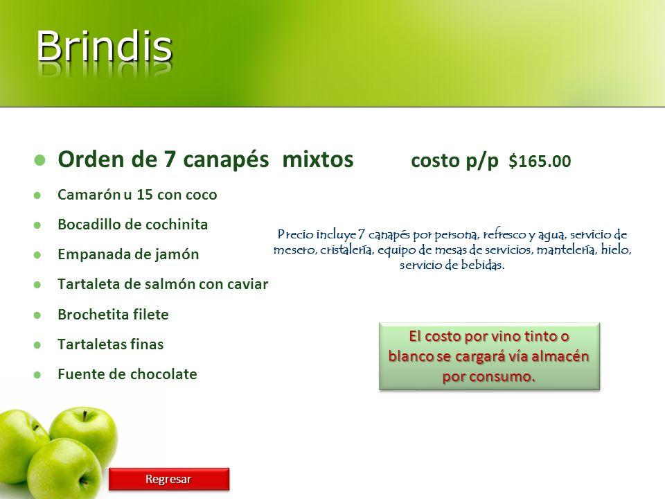 Orden de 7 canapés mixtos costo p/p $165.00 Camarón u 15 con coco Bocadillo de cochinita Empanada de jamón Tartaleta de salmón con caviar Brochetita f