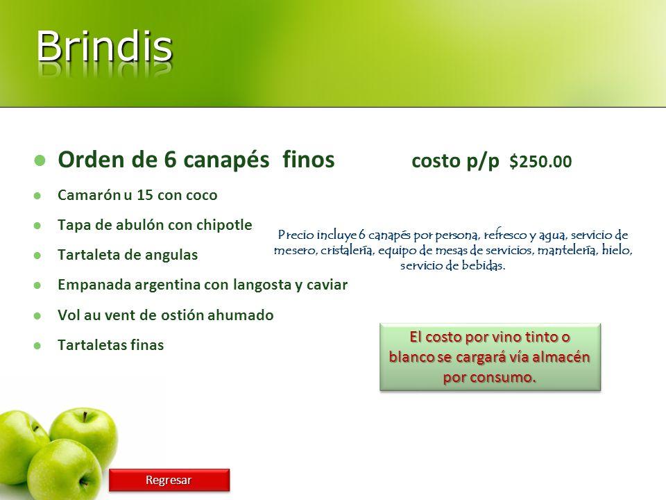 Orden de 6 canapés finos costo p/p $250.00 Camarón u 15 con coco Tapa de abulón con chipotle Tartaleta de angulas Empanada argentina con langosta y ca