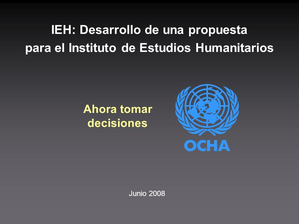 Junio 2008 Ahora tomar decisiones IEH: Desarrollo de una propuesta para el Instituto de Estudios Humanitarios