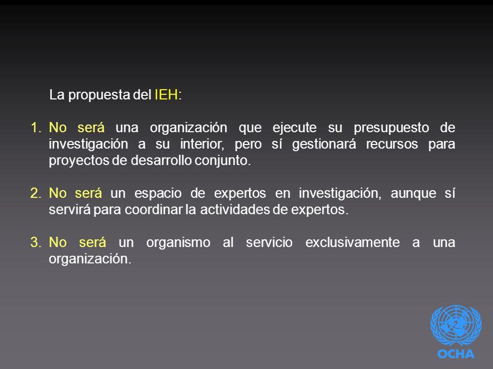La propuesta del IEH: 1.No será una organización que ejecute su presupuesto de investigación a su interior, pero sí gestionará recursos para proyectos de desarrollo conjunto.