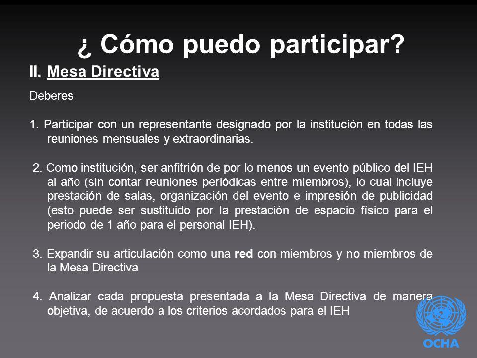 ¿ Cómo puedo participar. II. Mesa Directiva Deberes 1.