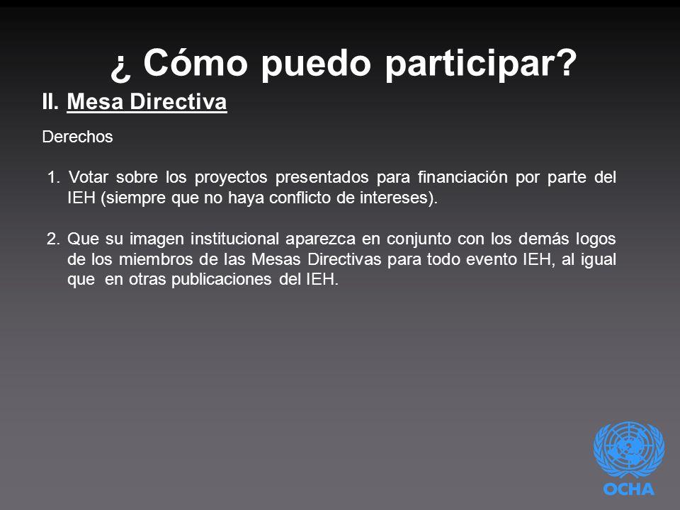 ¿ Cómo puedo participar. II. Mesa Directiva Derechos 1.