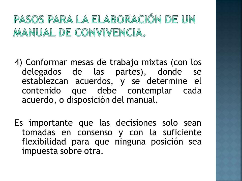 4) Conformar mesas de trabajo mixtas (con los delegados de las partes), donde se establezcan acuerdos, y se determine el contenido que debe contemplar cada acuerdo, o disposición del manual.