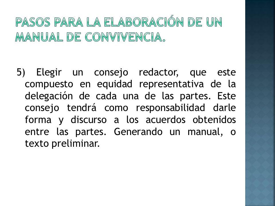 5) Elegir un consejo redactor, que este compuesto en equidad representativa de la delegación de cada una de las partes.
