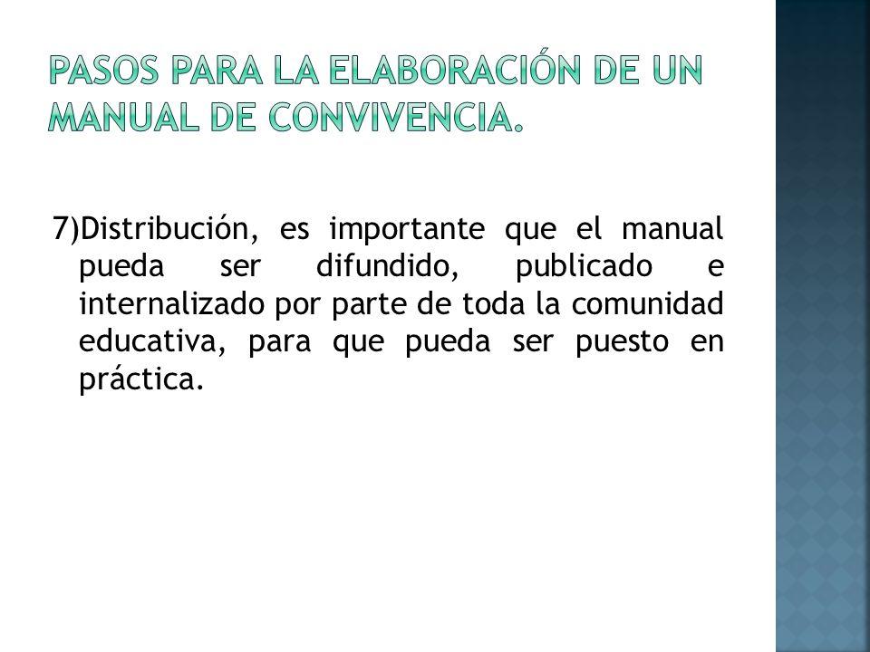 7)Distribución, es importante que el manual pueda ser difundido, publicado e internalizado por parte de toda la comunidad educativa, para que pueda ser puesto en práctica.