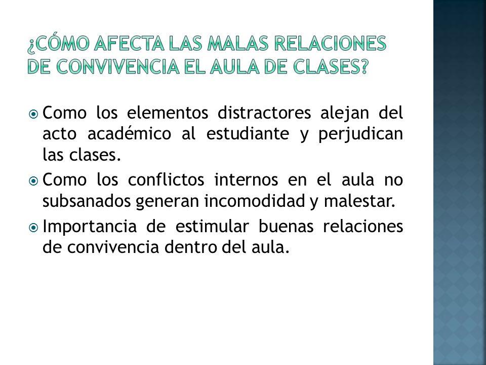 Como los elementos distractores alejan del acto académico al estudiante y perjudican las clases.