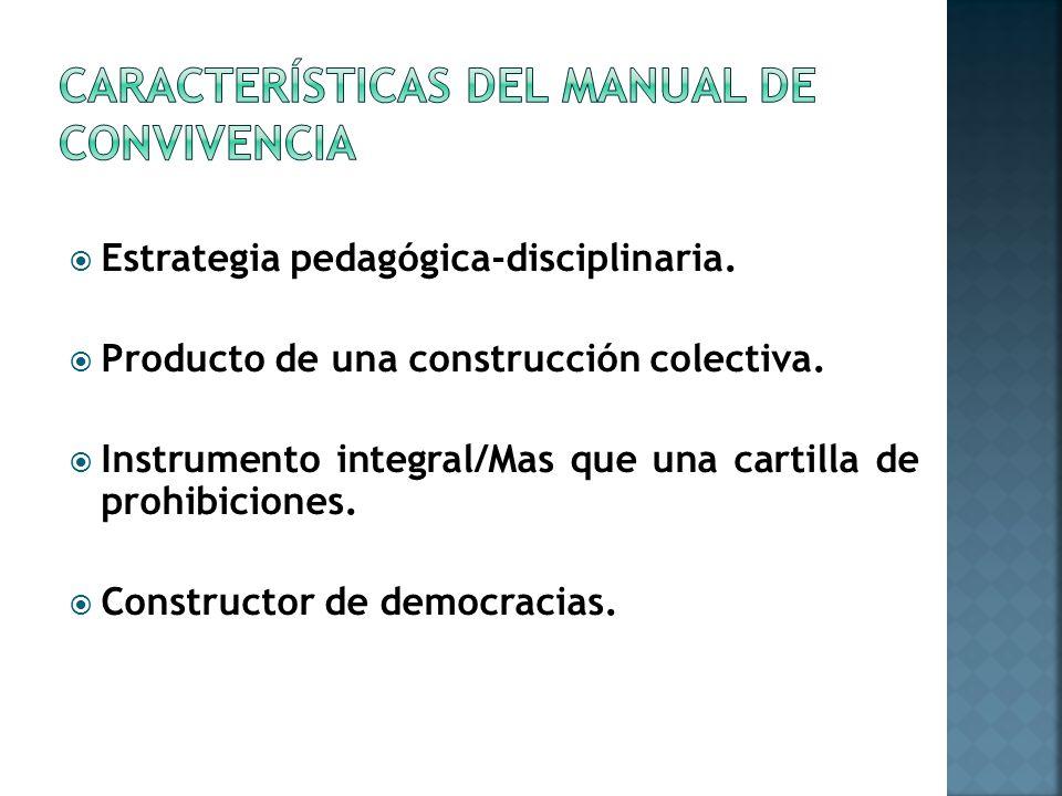 Estrategia pedagógica-disciplinaria.Producto de una construcción colectiva.