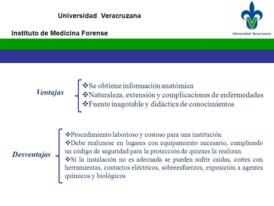 Universidad Veracruzana Procedimiento laborioso y costoso para una institución Debe realizarse en lugares con equipamiento necesario, cumpliendo un có