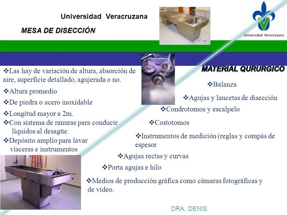 Universidad Veracruzana DRA. DENIS Agujas y lancetas de disección Condrotomos y escalpelo Balanza Costotomos Instrumentos de medición (reglas y compás