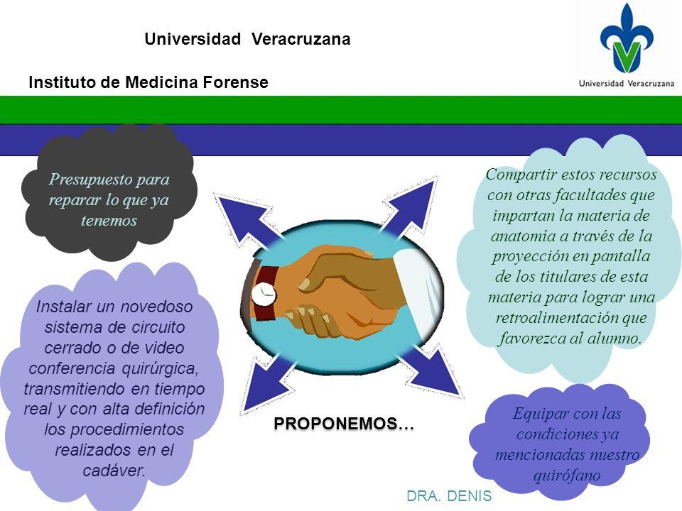 Universidad Veracruzana DRA. DENIS PROPONEMOS… Presupuesto para reparar lo que ya tenemos Compartir estos recursos con otras facultades que impartan l