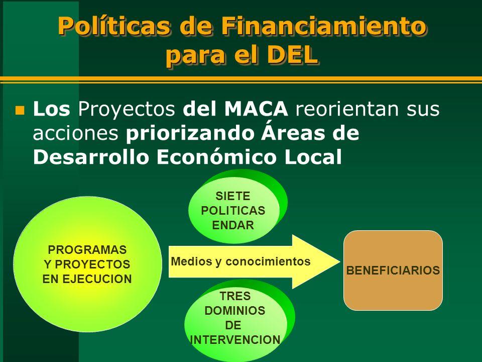 Políticas de Financiamiento para el DEL n Los Proyectos del MACA reorientan sus acciones priorizando Áreas de Desarrollo Económico Local PROGRAMAS Y PROYECTOS EN EJECUCION Medios y conocimientos SIETE POLITICAS ENDAR BENEFICIARIOS TRES DOMINIOS DE INTERVENCION