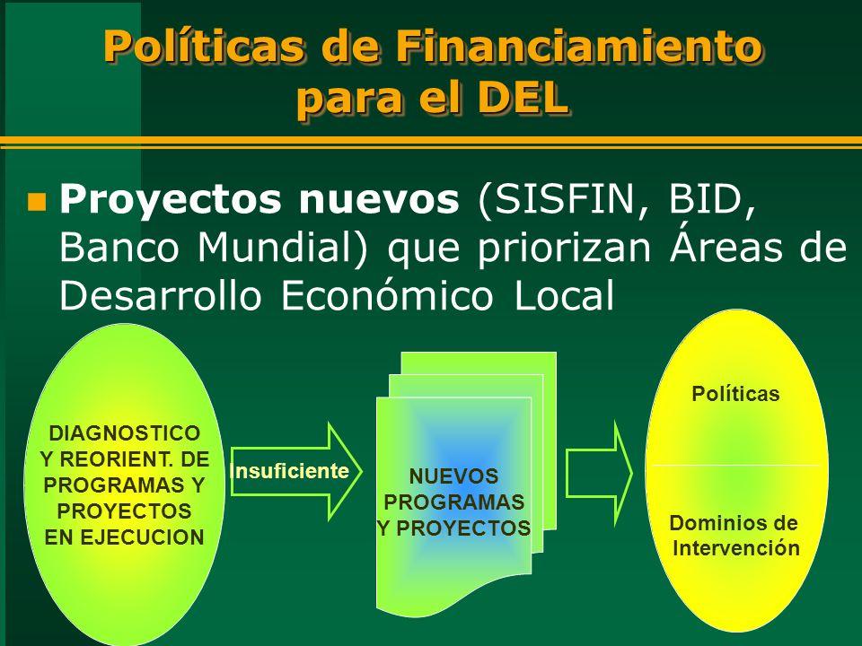Políticas de Financiamiento para el DEL n Proyectos nuevos (SISFIN, BID, Banco Mundial) que priorizan Áreas de Desarrollo Económico Local NUEVOS PROGRAMAS Y PROYECTOS DIAGNOSTICO Y REORIENT.