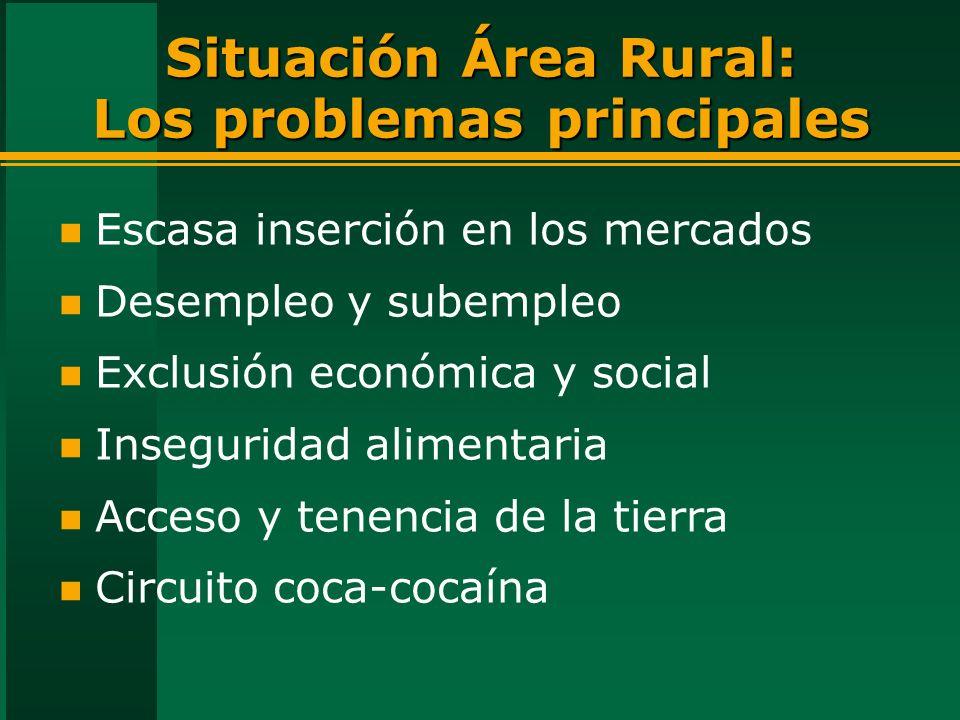 Situación Área Rural: Los problemas principales n Escasa inserción en los mercados n Desempleo y subempleo n Exclusión económica y social n Inseguridad alimentaria n Acceso y tenencia de la tierra n Circuito coca-cocaína