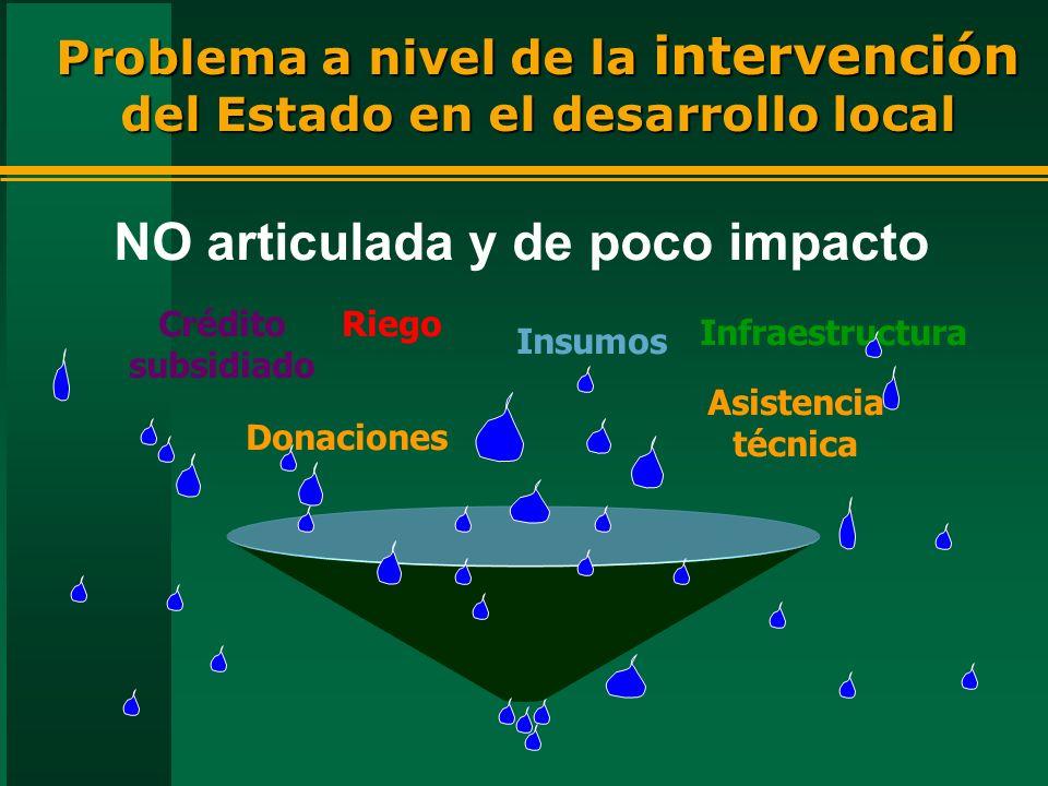 Problema a nivel de la intervención del Estado en el desarrollo local Asistencia técnica Riego Insumos Donaciones Crédito subsidiado Infraestructura NO articulada y de poco impacto