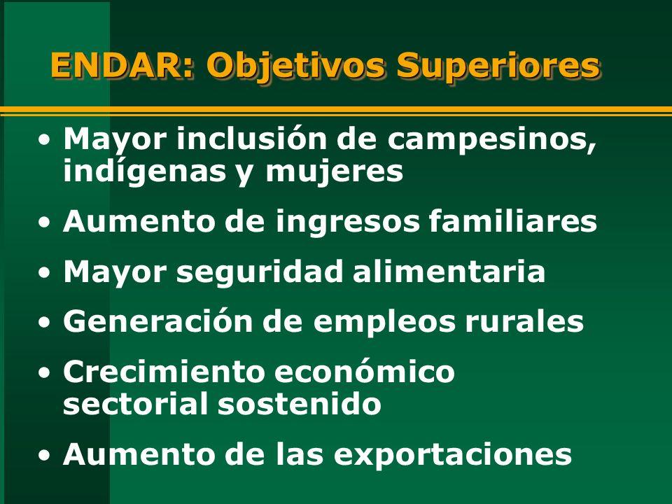 ENDAR: Objetivos Superiores Mayor inclusión de campesinos, indígenas y mujeres Aumento de ingresos familiares Mayor seguridad alimentaria Generación de empleos rurales Crecimiento económico sectorial sostenido Aumento de las exportaciones