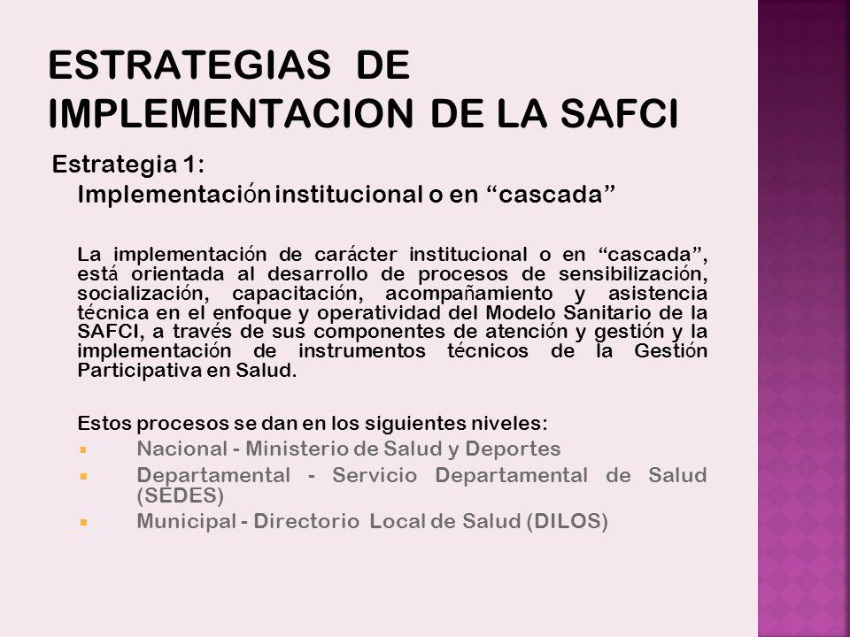 ESTRATEGIAS DE IMPLEMENTACION DE LA SAFCI Estrategia 1: Implementaci ó n institucional o en cascada La implementaci ó n de car á cter institucional o