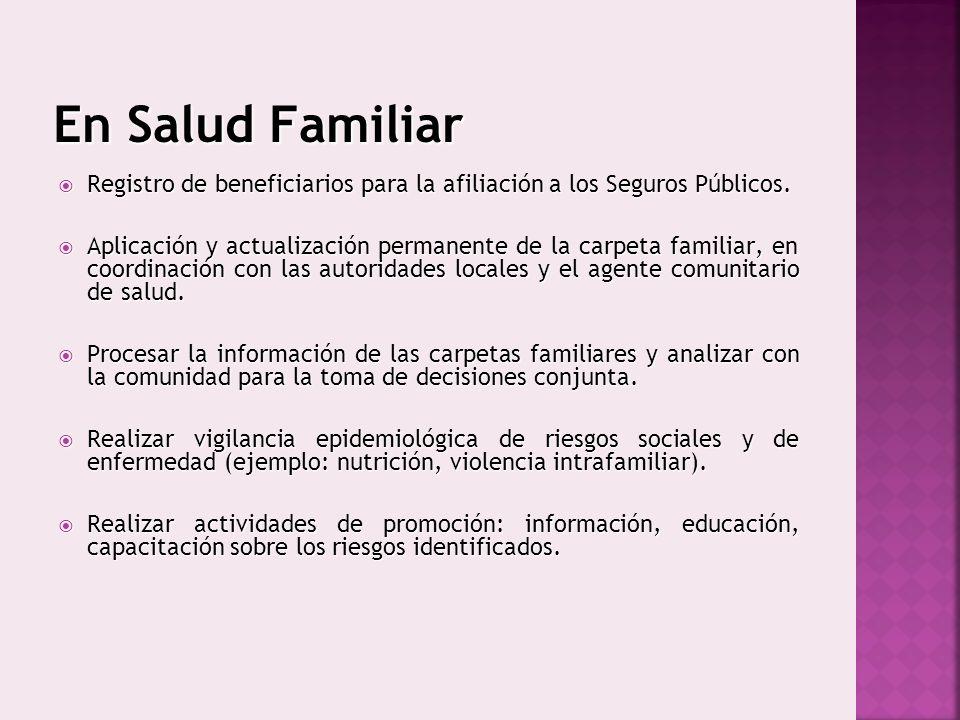 En Salud Familiar Registro de beneficiarios para la afiliación a los Seguros Públicos. Registro de beneficiarios para la afiliación a los Seguros Públ