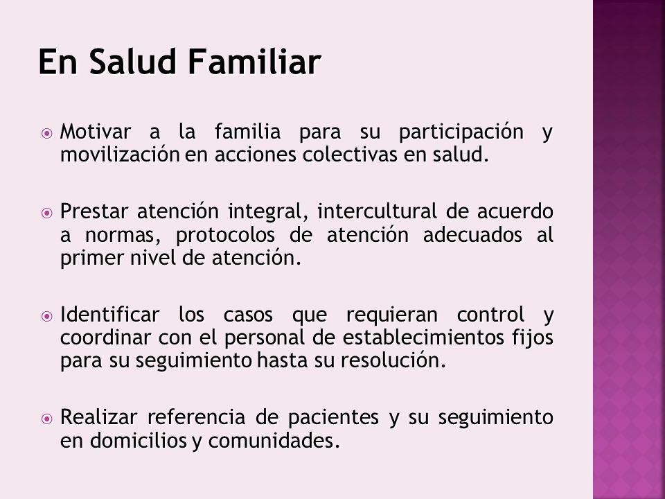 En Salud Familiar Motivar a la familia para su participación y movilización en acciones colectivas en salud. Motivar a la familia para su participació