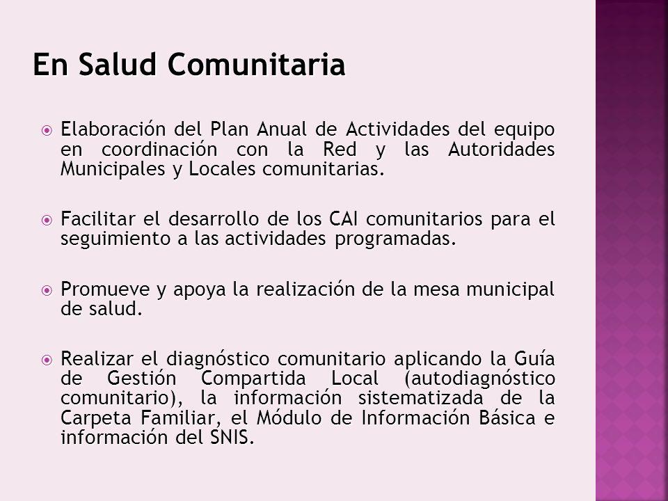En Salud Comunitaria Elaboración del Plan Anual de Actividades del equipo en coordinación con la Red y las Autoridades Municipales y Locales comunitar