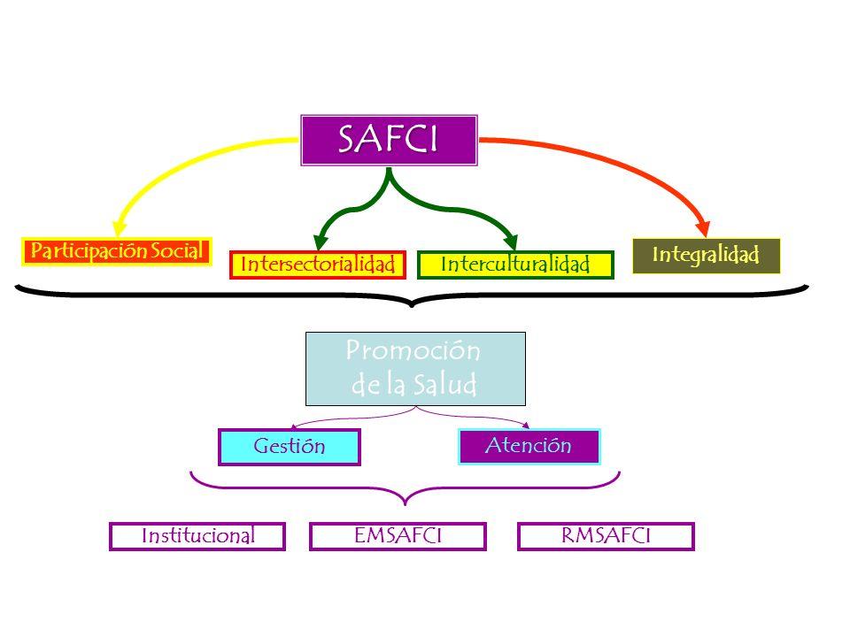 SAFCI Participación Social Integralidad Interculturalidad Gestión Intersectorialidad Atención InstitucionalEMSAFCIRMSAFCI Promoción de la Salud