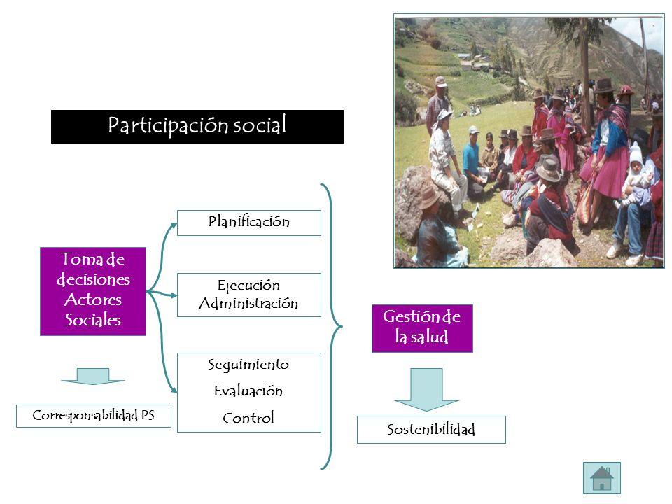 Participación social Toma de decisiones Actores Sociales Planificación Seguimiento Evaluación Control Ejecución Administración Gestión de la salud Sos
