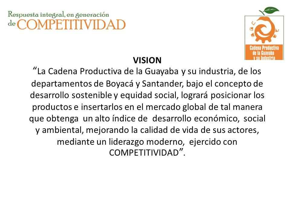 VISIONLa Cadena Productiva de la Guayaba y su industria, de los departamentos de Boyacá y Santander, bajo el concepto de desarrollo sostenible y equid