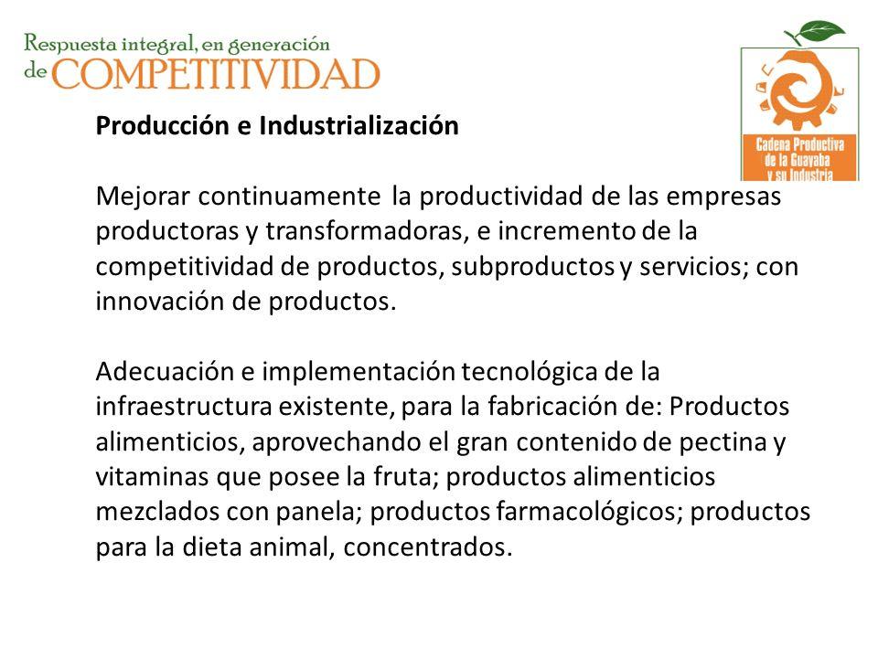 Producción e Industrialización Mejorar continuamente la productividad de las empresas productoras y transformadoras, e incremento de la competitividad
