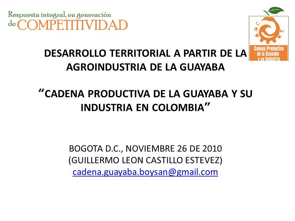 DESARROLLO TERRITORIAL A PARTIR DE LA AGROINDUSTRIA DE LA GUAYABACADENA PRODUCTIVA DE LA GUAYABA Y SU INDUSTRIA EN COLOMBIA BOGOTA D.C., NOVIEMBRE 26