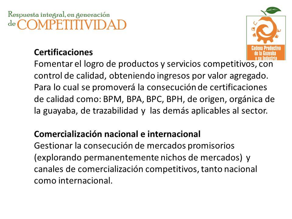 Certificaciones Fomentar el logro de productos y servicios competitivos, con control de calidad, obteniendo ingresos por valor agregado. Para lo cual