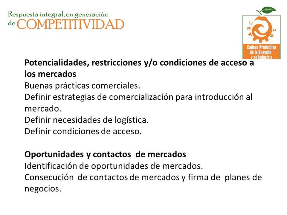 Potencialidades, restricciones y/o condiciones de acceso a los mercados Buenas prácticas comerciales. Definir estrategias de comercialización para int